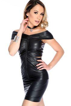 Black Off Shoulders Faux Leather Bodycon Dress Leather Bodycon Dress, Leather Dresses, Leather Outfits, Leather Skirts, Leather Boots, Black Leather, High Fashion Dresses, Sexy Dresses, Dress Fashion