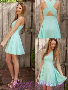 Simple Casual Chiffon Short Mini Homecoming Dresses A Line V neck Blue Prom Dress Sweet 16 Gown - Thumbnail 1