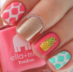 Beautiful nails Beautiful summer nails Fruit nails Juicy summer nails Manicure by summer dress ring finger nails Short nails for kids Spectacular nails Simple Nail Art Designs, Best Nail Art Designs, Awesome Designs, Love Nails, Pretty Nails, Super Cute Nails, Snoopy Et Woodstock, Nails Ideias, Pineapple Nails