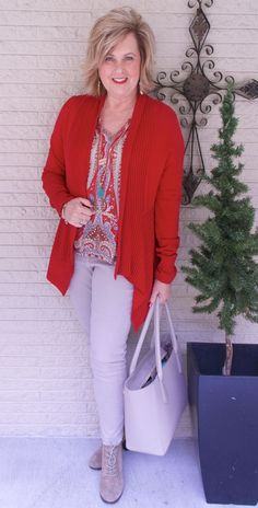 50 IS NOT OLD | HAPPY VALENTINE'S DAY | FASHION OVER 40 | Paisley Print | Waterfall Cardigan | How to wear red | Fashion over 40 for the everyday woman