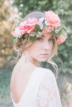 a soft natural look paired with a beautiful floral crown creates the perfect bridal glow. see more pretty images from Alexandra Wallace here http://www.weddingchicks.com/vendor-guide/alexandra-wallace/