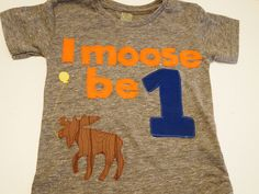 i am 1 one Birthday shirt moose detail Customize colors Boys Girls Organic Blend Birthday Tee first birthday shirt. via Etsy.