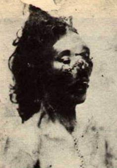 Photograph taken of Jack the Ripper victim Catherine Eddowes following post-mortem examination (taken at Golden Lane Mortuary)
