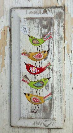 Arte Pallet, Pallet Art, Tole Painting, Painting On Wood, Art Fantaisiste, Naive Art, Whimsical Art, Bird Art, Painting Inspiration