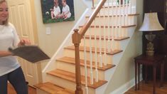 Many individuals require more painted stairs ideas to deliver the pleasure to their boring stairs. Carpet Stair Treads, Carpet Stairs, Wood Stair Treads, Stair Tread Rugs, Stair Banister, Stair Renovation, Staircase Remodel, Staircase Makeover, Staircase Design