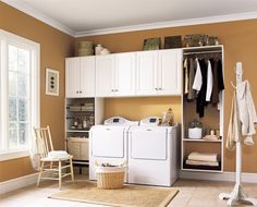 Have small laundry room? Got a boring laundry room? Need small laundry room design ideas? Don't worry, we're here to help you. Laundry Room Cabinets, Basement Laundry, Laundry Room Organization, Laundry Room Design, Storage Cabinets, Storage Shelves, Diy Cabinets, Small Shelves, Laundry Area