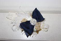 Navy Bow Headband- Baby Headbands-Baby Girl Bow Headbands-Infant Headbands-Navy and Gold Birthday Headband-Birthday Headband