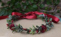 Items similar to Christmas Flower Crown- Winter Flower Crown -Snowy Boxwood Halo - Photo Prop - Christmas Halo - Winter Hair Wreath- Christmas Wedding on Etsy Wedding Arch Flowers, Table Flowers, Yule, Red Roses, Pink Flowers, Flower Girl Crown, Flower Crowns, Christmas Photo Props, Winter Table