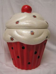 Silky Ladybug Cupcake Jar by whitedovecrafts on Etsy, $13.50  She's ready to fly away to your heart & home.  Perfect decor for your little ladybug's room.