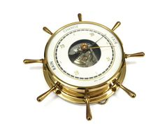 Vintage Barometer, Nautical Ship's Wheel Weather Gauge, Made in West Germany, circa 1970s