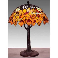 Tiffany Style Stained Glass Table Lamp Bronze Top Maple
