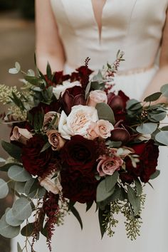 Intimate Ballard wedding in Seattle, WA. This wedding was one for the books! Winter Wedding Flowers, Fall Wedding Bouquets, Fall Wedding Colors, Bridal Flowers, Flower Bouquet Wedding, Floral Wedding, Fall Bouquets, Burgundy Wedding Flowers, Rose Bridal Bouquet