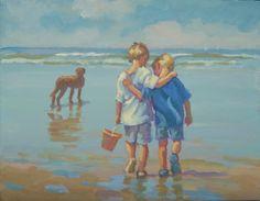 Cuando éramos jóvenes dos niños caminando por la playa lienzo