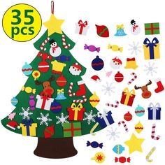 Tobehigher Felt Christmas Tree - Ft Diy Set For Kids With 33 Pieces Of Ornament Decor, Wall Hanging Christmas Tree Decorations Wall Hanging Christmas Tree, Diy Felt Christmas Tree, Felt Christmas Decorations, Colorful Christmas Tree, Christmas Items, Christmas Signs, Christmas Pickle Ornament, Glass Christmas Tree Ornaments, Hanging Ornaments