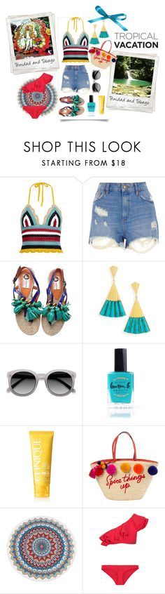 """Trinidad and Tobago Travel Outfits"" by ladygroovenyc ❤ liked on Polyvore featuring RED Valentino, River Island, Lanvin, Dean Davidson, Polaroid, Lauren B. Beauty, Clinique, Kate Spade and Lisa Marie Fernandez"