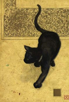 Chat noir. Black cat (by Jane Crowther. 2002).