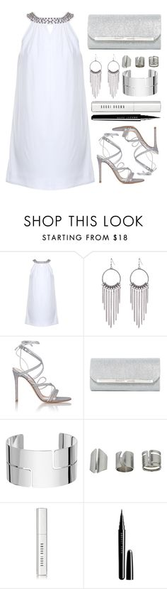 """""""White & Silver"""" by simona-altobelli ❤ liked on Polyvore featuring Gianvito Rossi, Natasha Accessories, Dinh Van, Topshop, Bobbi Brown Cosmetics and Marc Jacobs"""