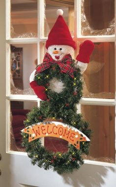 Lighted Musical Welcome Snowman Holiday Wreath