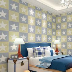 American-Style-Children-Boy-Wallpaper-Stars-Wall-Paper-for-Bedroom
