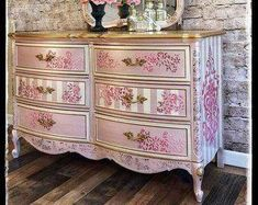Vintage Furniture SOLD~ Elegant pink and gold Dixie dresser with matching mirror - ~SOLD~ hand painted chest of drawers with mirror. Distressed Furniture, Funky Furniture, Refurbished Furniture, Plywood Furniture, Upcycled Furniture, Furniture Makeover, Vintage Furniture, Painted Furniture, Cheap Furniture