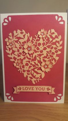handmade Valentine card ... Stampin Up Bloomin Love ... gold on red ... lacy die cut heart ... fancy punched corners ...