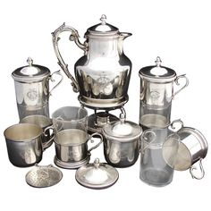 Antique French Sterling Silver Coffee Press Set: Samovar,