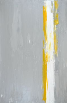 Original Artwork, 2013 - Acrylic Modern Contemporary Abstract Painting Squares Wall Decorative Free Shipping Grey Yellow White 24x36 Canvas on Etsy, $186.00