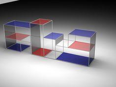 RENDER 03 - Aplicação de planos transparentes e linhas - ESTANTE RED AND BLUE