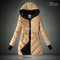 Designer women Downcoats Mid-thigh long Hoodie coats Double Erected Pockets S-XL free shipping