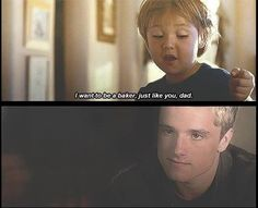 Peeta and Katniss's Little Boy!!! Mocking Jay / Hunger Games / Suzanne Collins said in an interview once that Katniss and Peeta's little boy name is Rye. Little Rye :D
