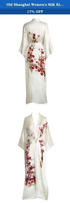 Old Shanghai Women's Silk Kimono Long Robe - Handpainted - Cherry Blossom White. Our exclusive collection of delicately hand painted silk kimonos is inspired by well known art collections from China. Each silk kimono is created by a master artisan, taking over seven days to complete the intricate details decorating both front and back. Elegant & luxurious, our silk kimonos make every woman feel like a work of art. For more information, please contact us before purchase.