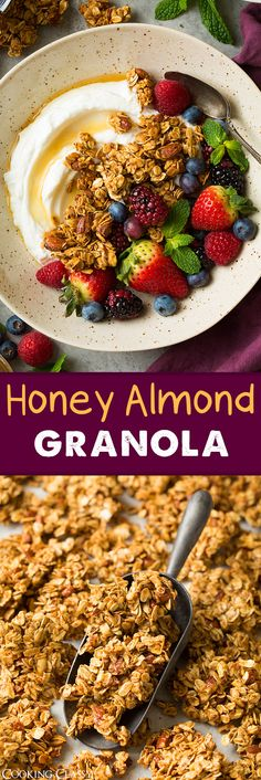 Honey Almond Granola - perfectly sweet and crisp and clustered! Love this granola!