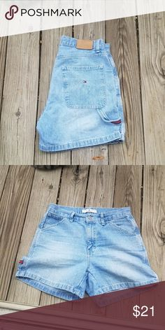 """Vintage tommy shorts Tommy Hilfiger all day every day. These light wash shorts will pair perfectly with a tommy girl crop top or a black tee. High rise (10"""" rise) and super cute. Has a little hammer strap with the TH colors on the side. Size 6. Tommy Hilfiger Shorts Jean Shorts"""