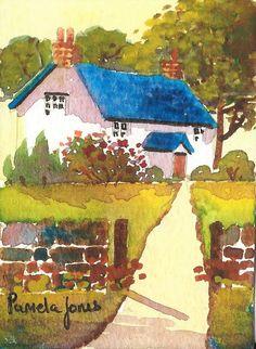 ACEO Original Watercolour Welsh Cottage by Pamelajonesartstudio