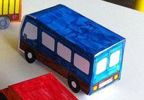 Minibusje. Bouwplaat is op de site te downloaden (free download).