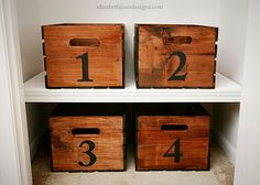 Stained and numbered crates for shoe storage