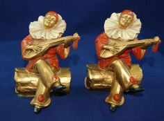 """Vintage """"Pierrot on a Log"""" matching metal hand painted Harlequins bookends pair"""