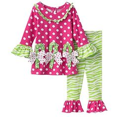 Bonnie Baby Girl Candy Cane Holiday Legging Set (12m-24m) (18 months) * Check out @