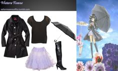 Like Sailor Moon Outfits on Facebook! Requested by:fairytalerabbit Forever 21 sheer sleeves top in Black Chinese Laundry Kingdom boots in Black Merona belted long trench coat in Black Totes black ruffle edge umbrella Rokit lavender petticoat skirt