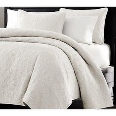 White Quilted Queen  Oversized Microfiber Coverlet Bedspread Sham Set