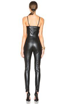 Image 4 de Saint Laurent Leather Jumpsuit en Noir