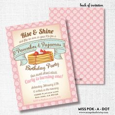 PANCAKES AND PAJAMAS girl Birthday party invitation by misspokadot