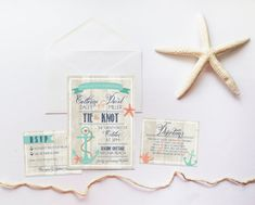 """Tie the Knot"" Nautical Wedding Invitation"
