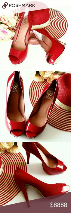 """Vince Camuto Haute inRed Platform Peep Toe Heels Candy apple red, 100% leather uppers w/shiny patent finish, hidden platform (approx. 1.5"""") offset heels (approx. 5""""). Feels like a 3.5"""" heel. Showcase your pedi game w/peep toes. Glam color pop or 'red up' head to toe. EUC (worn for approx. 1 hour) Haute! *Ask Questions B4 U Buy!* Vince Camuto Shoes Heels"""