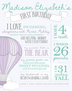 Birthday facts poster – Hot air balloon party – Clouds – First birthday – Birthday stats – Favorite things poster – First year poster – trendsname Baby Birthday, First Birthday Parties, First Birthdays, First Birthday Traditions, Birthday Ideas, Hot Air Balloon, Balloon Party, Balloon Cake, Air Ballon