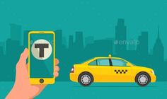 Phone with Interface Taxi on Screen