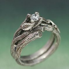 ACADIA WEDDING RING Set - Engagement Ring, Matching Weddng Band, 14k white gold with White Sapphire. £568.00, via Etsy.