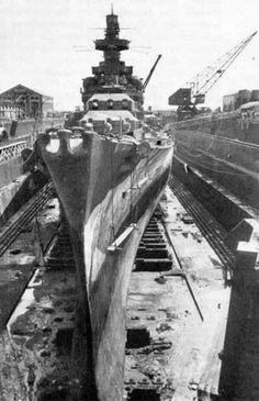 KMS Gneisenau in dry dock. Brest 1941.