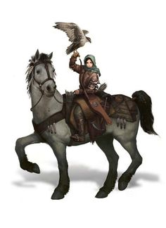 Female Halfling Ranger - wearing a green scarf over head and brown coat, riding a white horse and holding a falcon(?) on wrist, with a bow in case at side.