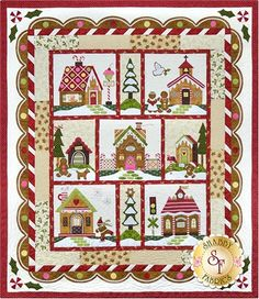 Gingerbread Village - Set Of 7 Patterns + Accessory Fabric Packet: Gingerbread Village is hot out of the oven featuring seven delightful Gingerbread theme house blocks, a peppermint stripe and a scallop border as the icing on the top. Quilt finishes to 72